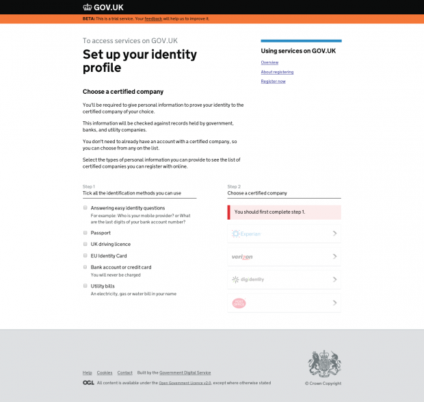 Set up your identity profile   GOV.UK