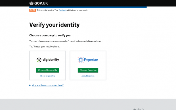Screenshot of the GOV.UK Verify screen that allows people to choose a certified company