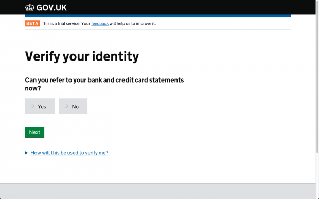 Current version of the page on GOV.UK Verify to let people know what they'll need to prove their identity