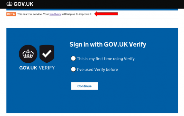 A screenshot from GOV.UK Verify showing the user support link at the top of the page