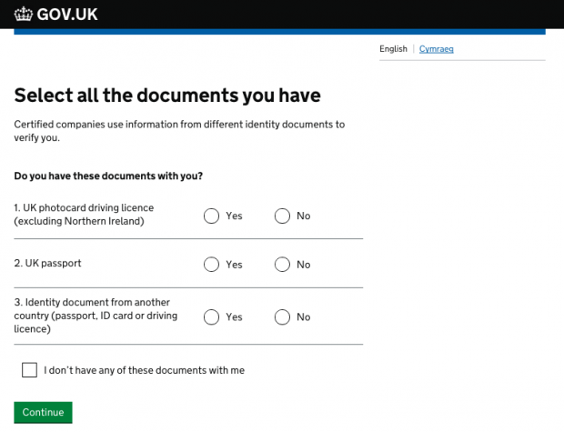 A screen from the GOV.UK Verify service where users are asked which identity documents they have with them