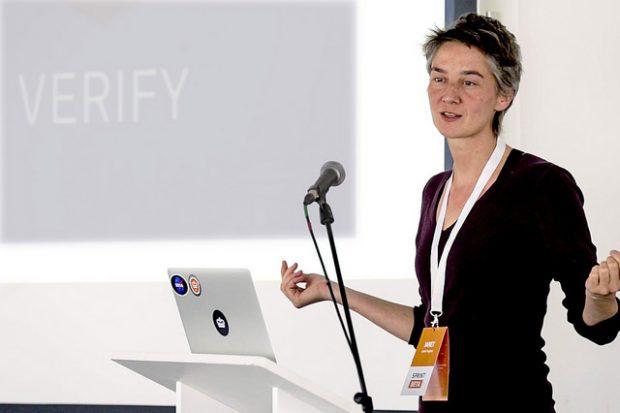 Janet Hughes presenting on GOV.UK Verify