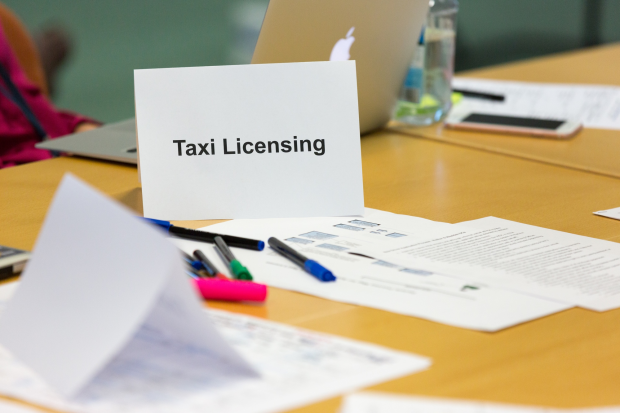 Image of taxi licensing place card