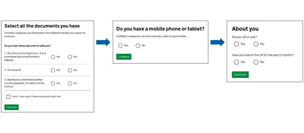 A flow diagram with screenshots of the GOV.UK Verify questions. First question is 'Select all the documents you have', second question is 'Do you have a mobile phone or tablet' and the third image is 'About you' asking 'are you aged 20 or over' and 'Have you lived in the UK for the last 12 months'?