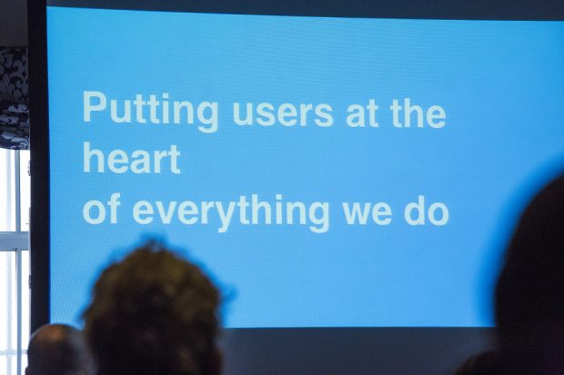 "A picture of a presentation slide saying ""Putting users at the heart of everything we do"""