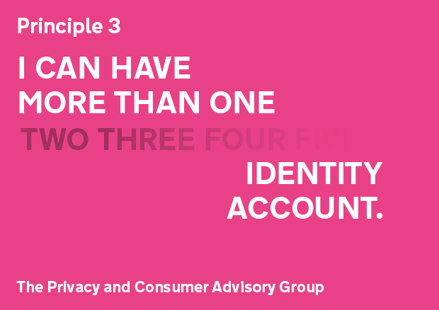 Privacy Principle 3: I can have more than one identity account