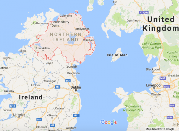 Google Maps view of Northern Ireland