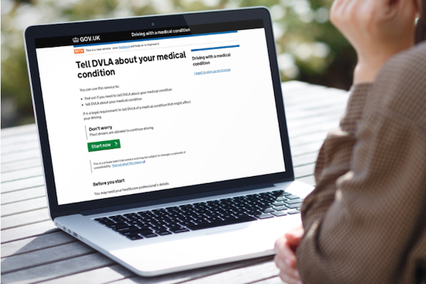 User viewing DVLA's 'Driving with a medical condition' service