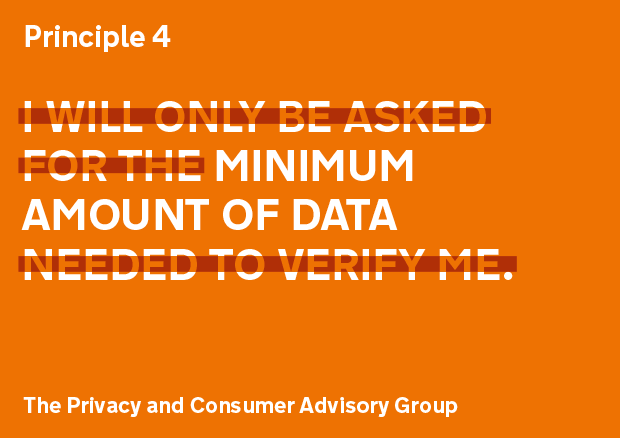 Privacy principle 4: I will only be asked for the minimum amount of data needed to verify me