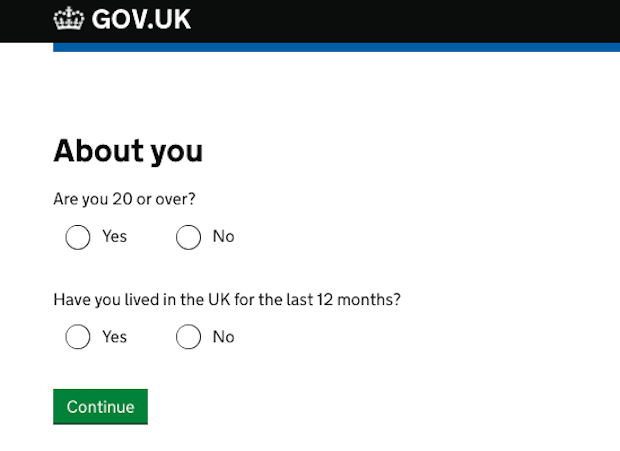 'About you' questions on the GOV.UK Verify Hub