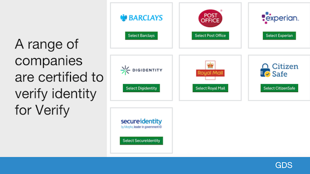 A range of companies are certified to verify identity for Verify
