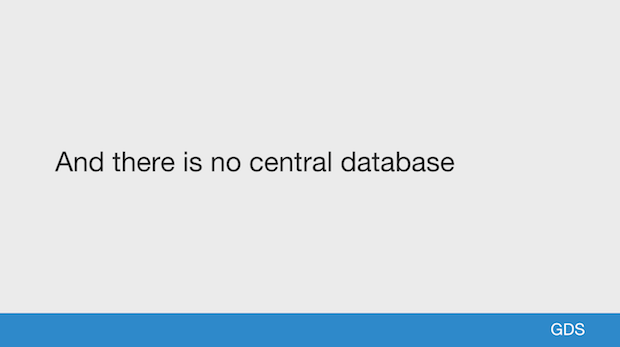 And there is no central database